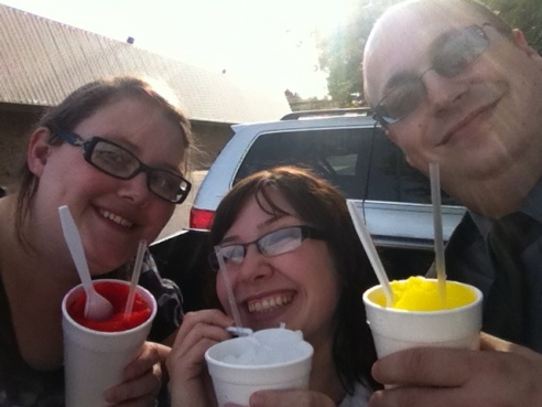 Kay, Jay, and Steve savoring their sno-cones in Franklin, Tennessee.