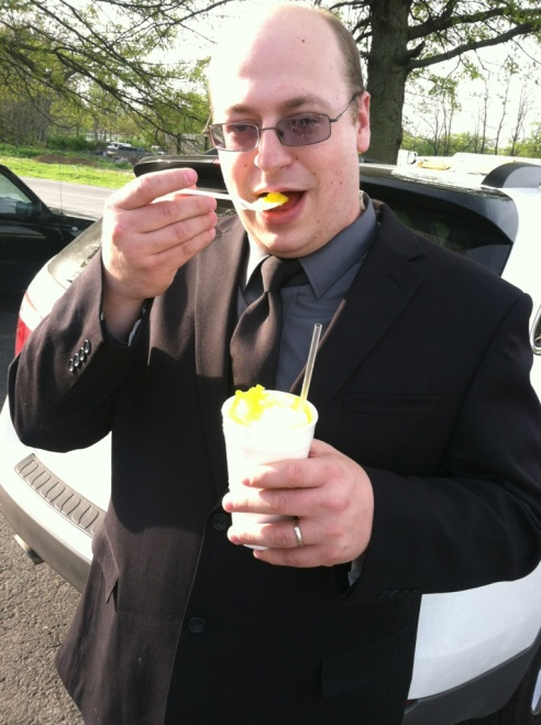 Steve enjoying his Mango Sno-Cone in Franklin, Tennessee.