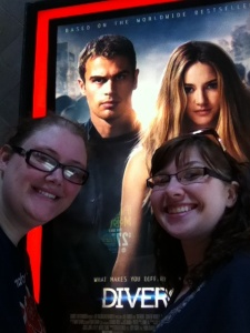 Kay and Jay in front of the Divergent poster at the movie theater within the Opry Mills Mall. Nashville, Tennessee