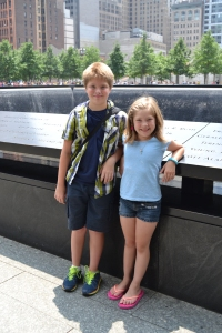 Kids in front of the memorial.
